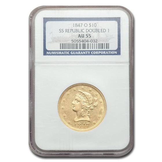 1847-O $10 Liberty Gold Eagle AU-55 NGC (SS Republic Doubled 1)