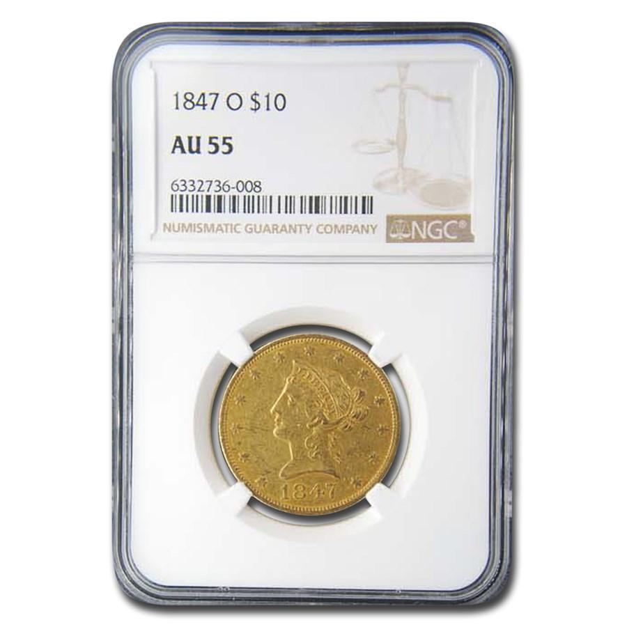 1847-O $10 Liberty Gold Eagle AU-55 NGC