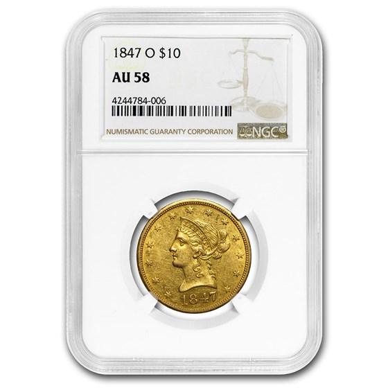 1847-O $10 Liberty Gold Eagle AU-58 NGC