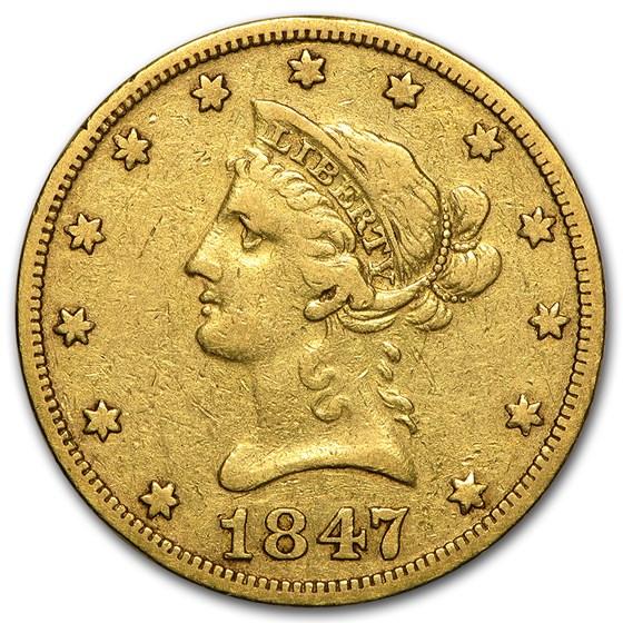 1847-O $10 Liberty Gold Eagle VG/VF