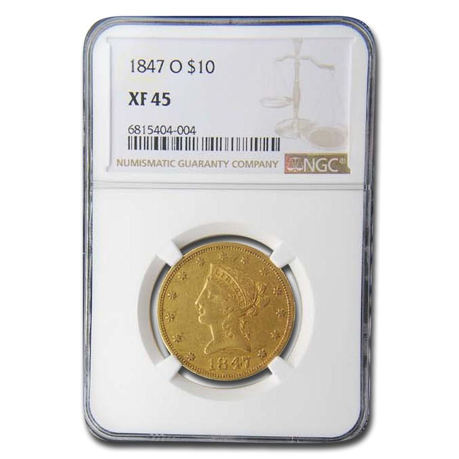 1847-O $10 Liberty Gold Eagle XF-45 NGC