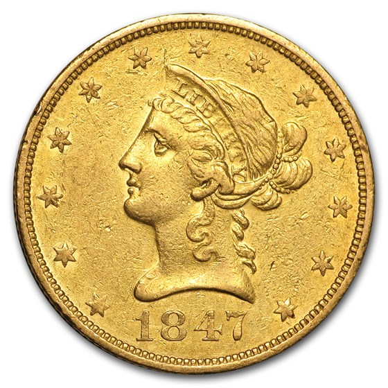 1847-O $10 Liberty Gold Eagle XF Details (Cleaned)