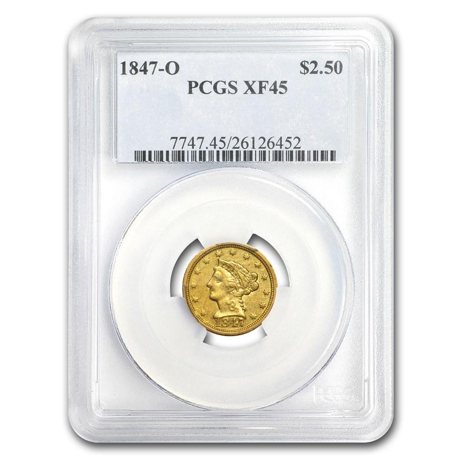 1847-O $2.50 Liberty Gold Quarter Eagle XF-45 PCGS