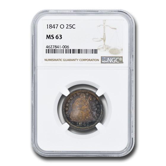 1847-O Liberty Seated Quarter MS-63 NGC