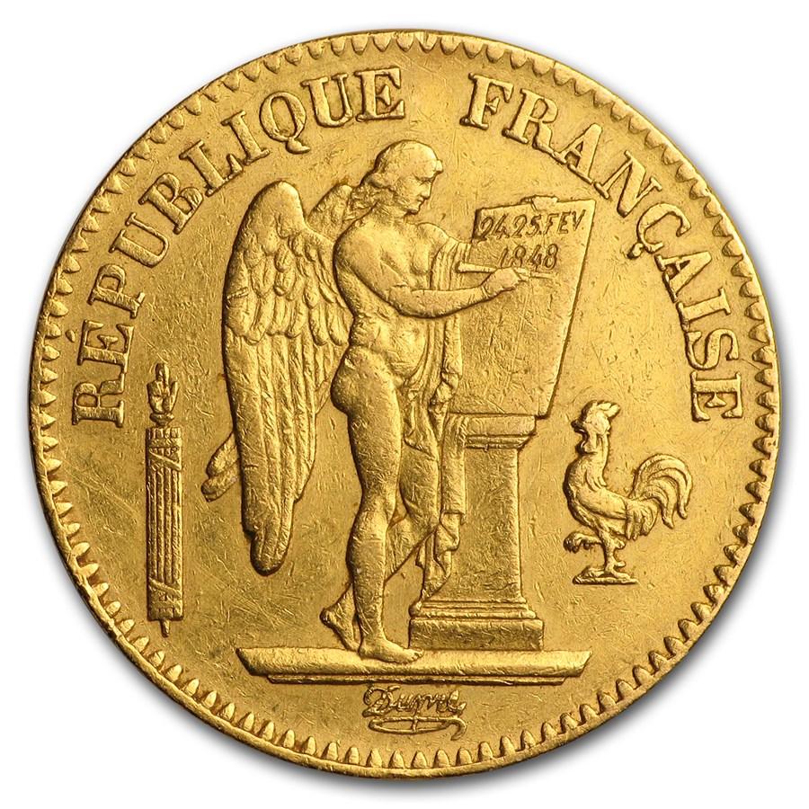 1848-1849 France Gold 20 Francs Lucky Angel (AU)