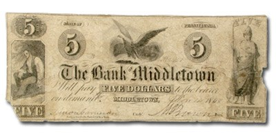 1848 Bank of Middletown, PA, $5 PA-300 Fine COUNTERFEIT
