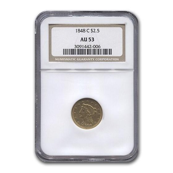 1848-C $2.50 Liberty Gold Quarter Eagle AU-53 NGC