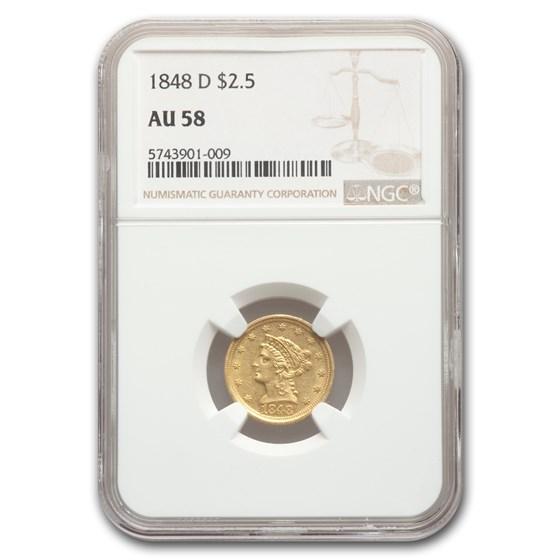 1848-D $2.50 Liberty Gold Quarter Eagle AU-58 NGC