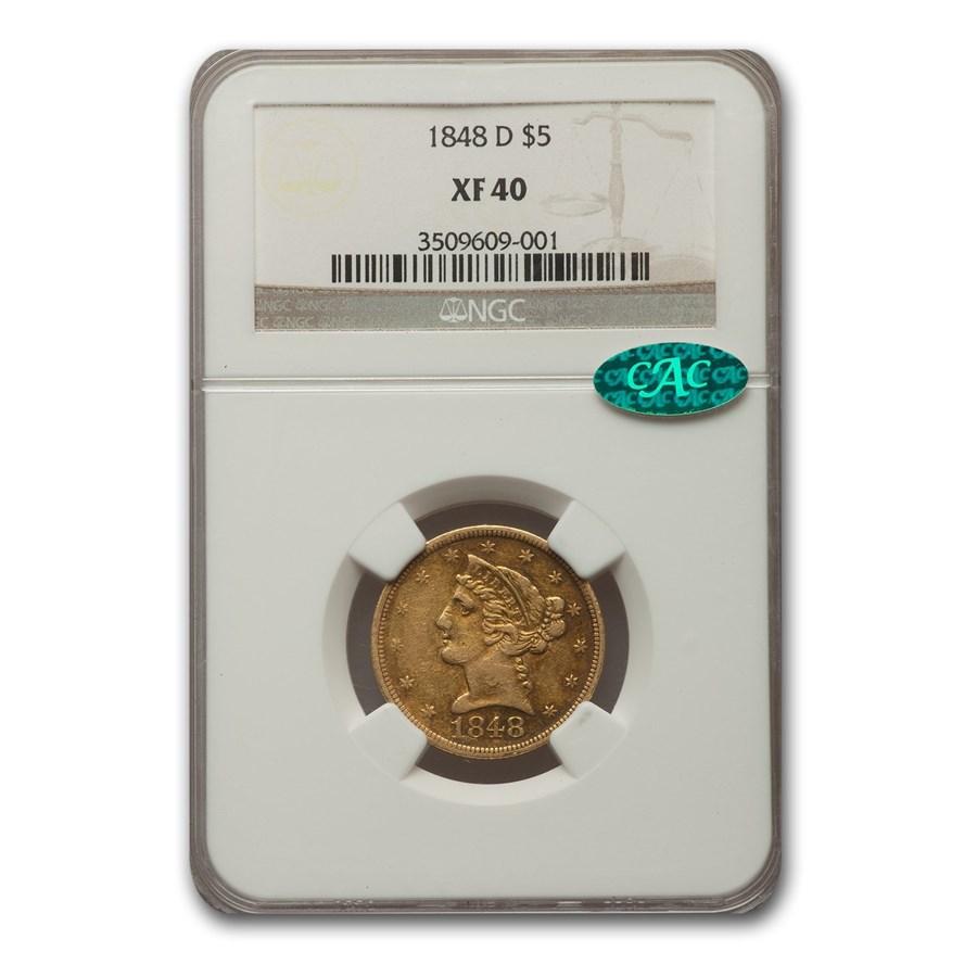 1848-D $5 Liberty Gold Half Eagle XF-40 NGC CAC