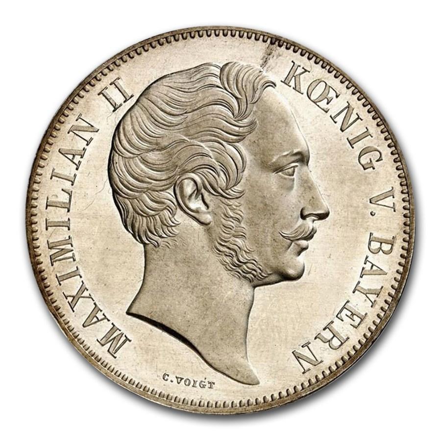 1848 German State Bavaria Silver 2 Thaler MS-63PL NGC