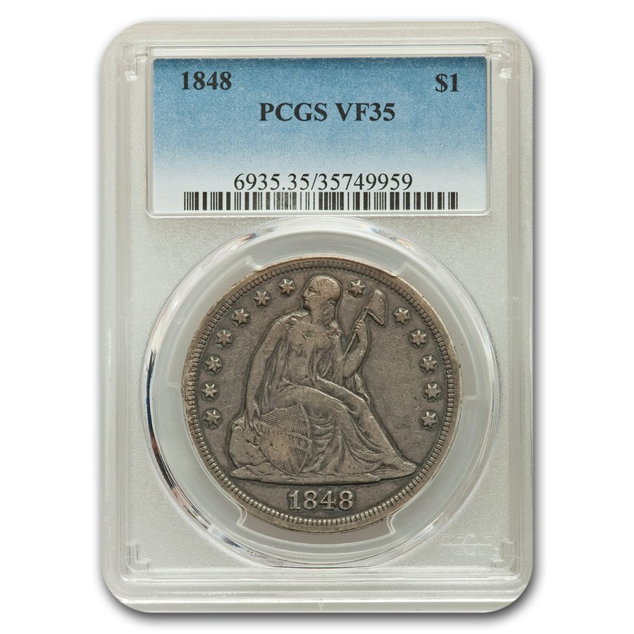 1848 Liberty Seated Dollar VF-35 PCGS