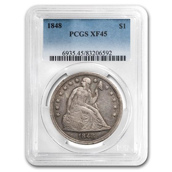 1848 Liberty Seated Dollar XF-45 PCGS