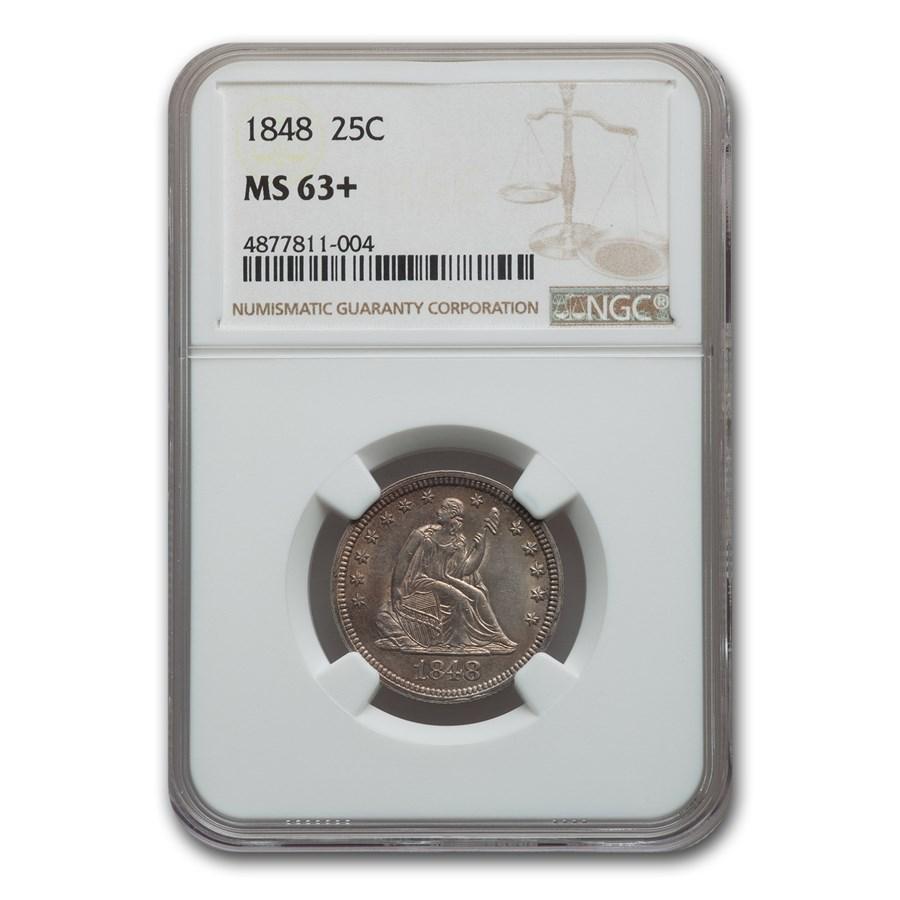1848 Liberty Seated Quarter MS-63+ NGC