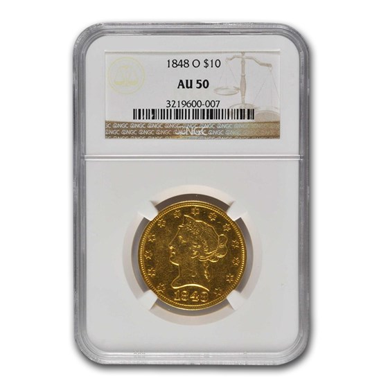 1848-O $10 Liberty Gold Eagle AU-50 NGC