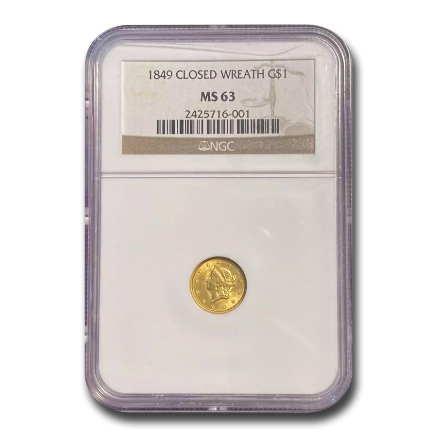 1849 $1 Liberty Gold Closed Wreath MS-63 NGC