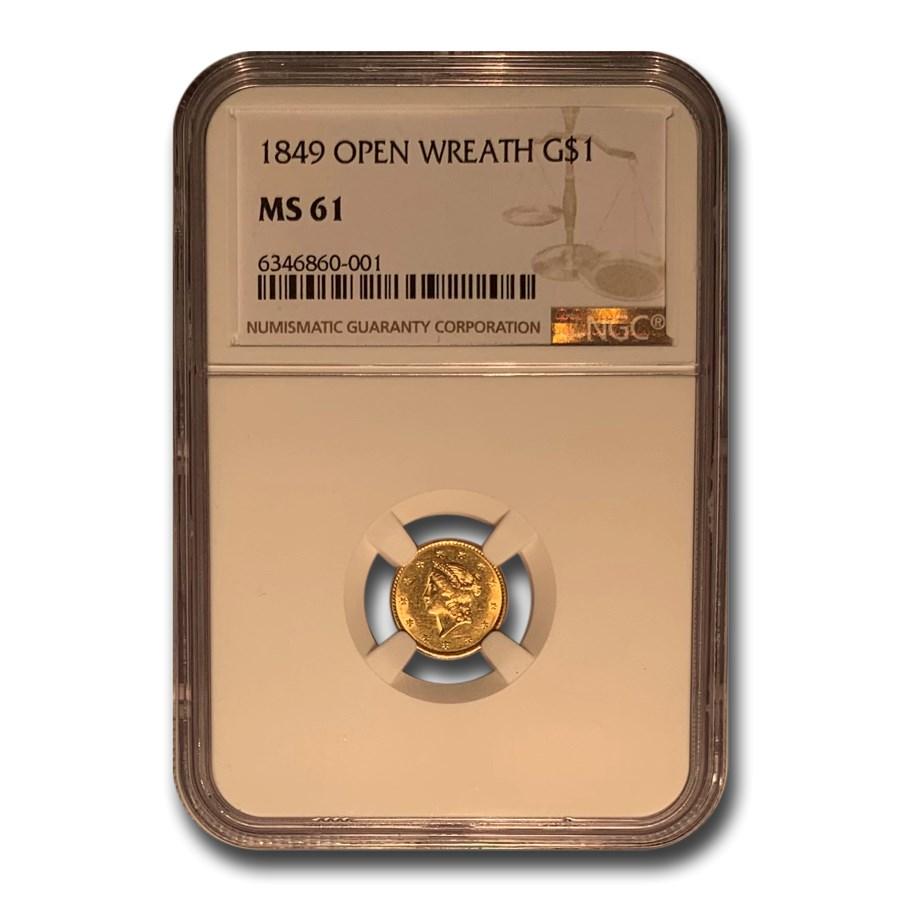 1849 $1 Liberty Gold Dollar Open Wreath MS-61 NGC