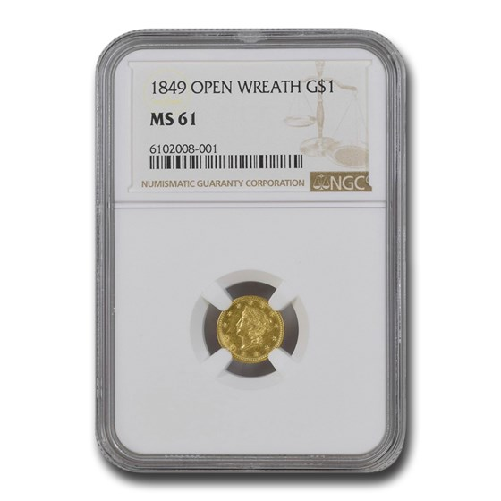 1849 $1 Liberty Gold Open Wreath MS-61 NGC