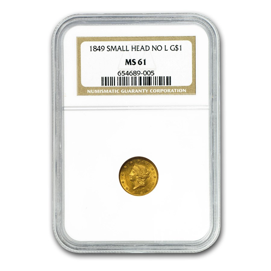 1849 $1 Liberty Gold Small Head Open Wreath No L MS-61 NGC