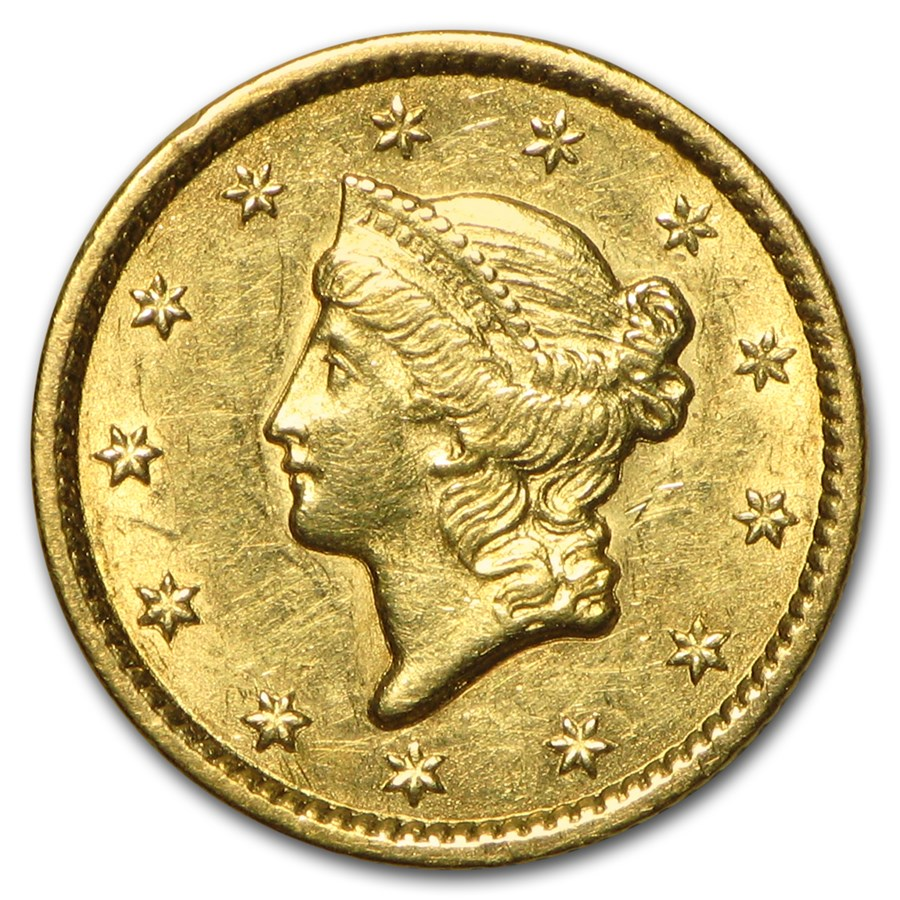 1849 $1 Liberty Head Gold Dollar Closed Wreath AU