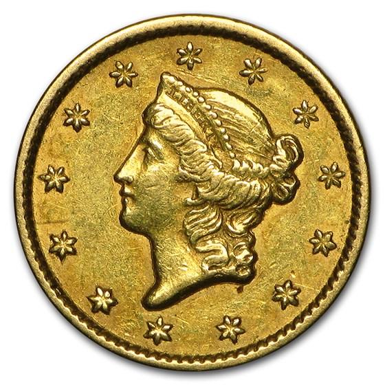 1849 $1 Liberty Head Gold Dollar Closed Wreath XF