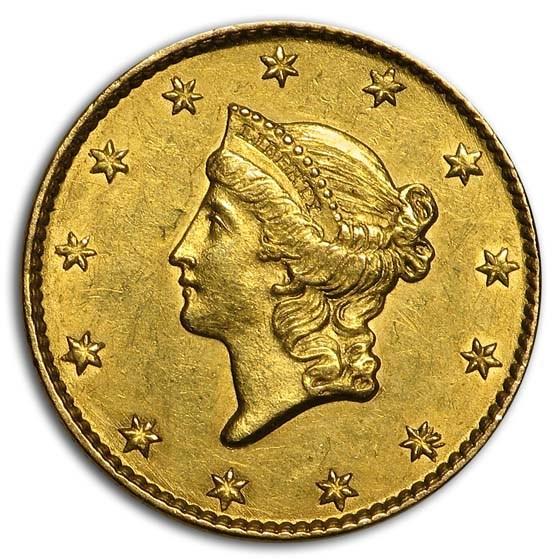 1849 $1 Liberty Head Gold Dollar Open Wreath AU