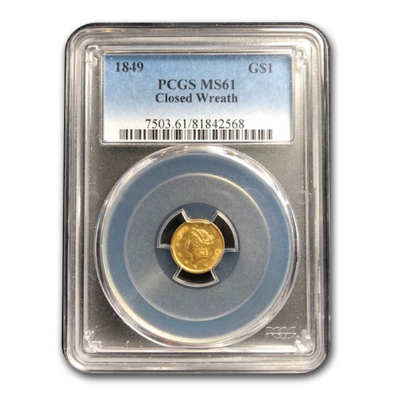 1849 $1 Liberty Head Gold MS-61 PCGS (Closed Wreath)