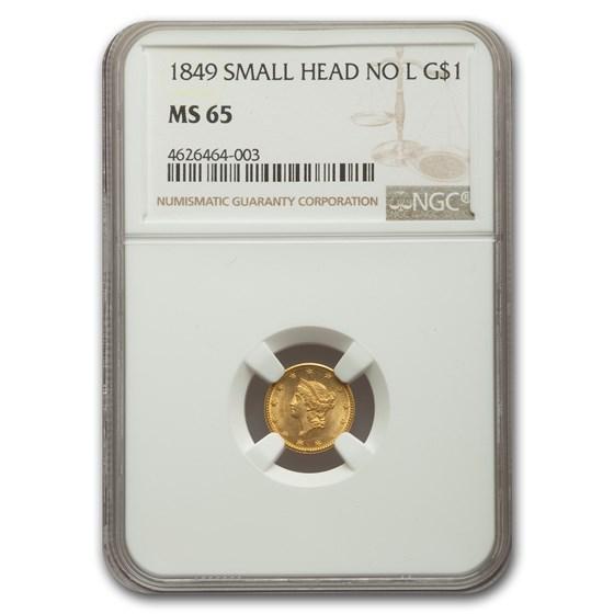 1849 $1 Liberty Head Gold MS-65 NGC (Small Head, No L)
