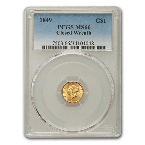 1849 $1 Liberty Head Gold MS-66 PCGS (Closed Wreath)