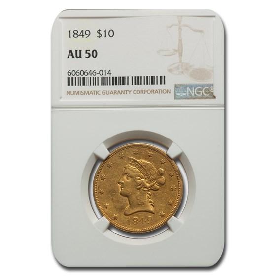 1849 $10 Liberty Gold Eagle AU-50 NGC