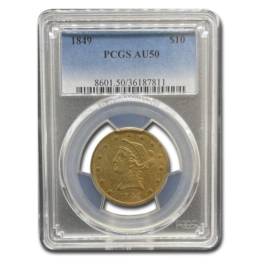 1849 $10 Liberty Gold Eagle AU-50 PCGS