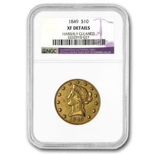 1849 $10 Liberty Gold Eagle EF Details NGC (Harshly Cleaned)
