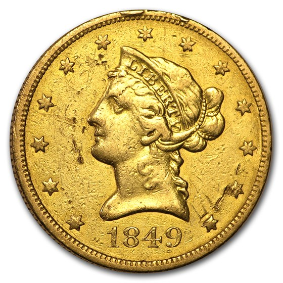 1849 $10 Liberty Gold Eagle VF Details (Cleaned)