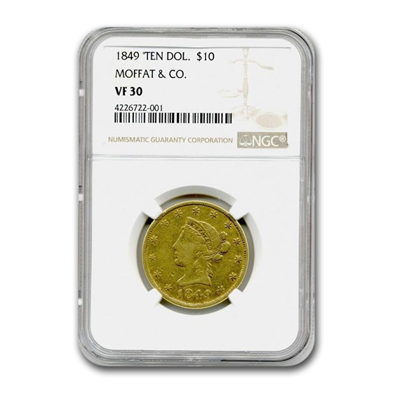 1849 $10 Moffat & Co. Liberty Gold Eagle VF-30 NGC