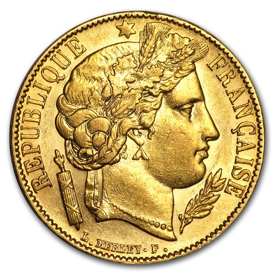 1849-1851 France Gold 20 Francs Early Head Ceres (BU)