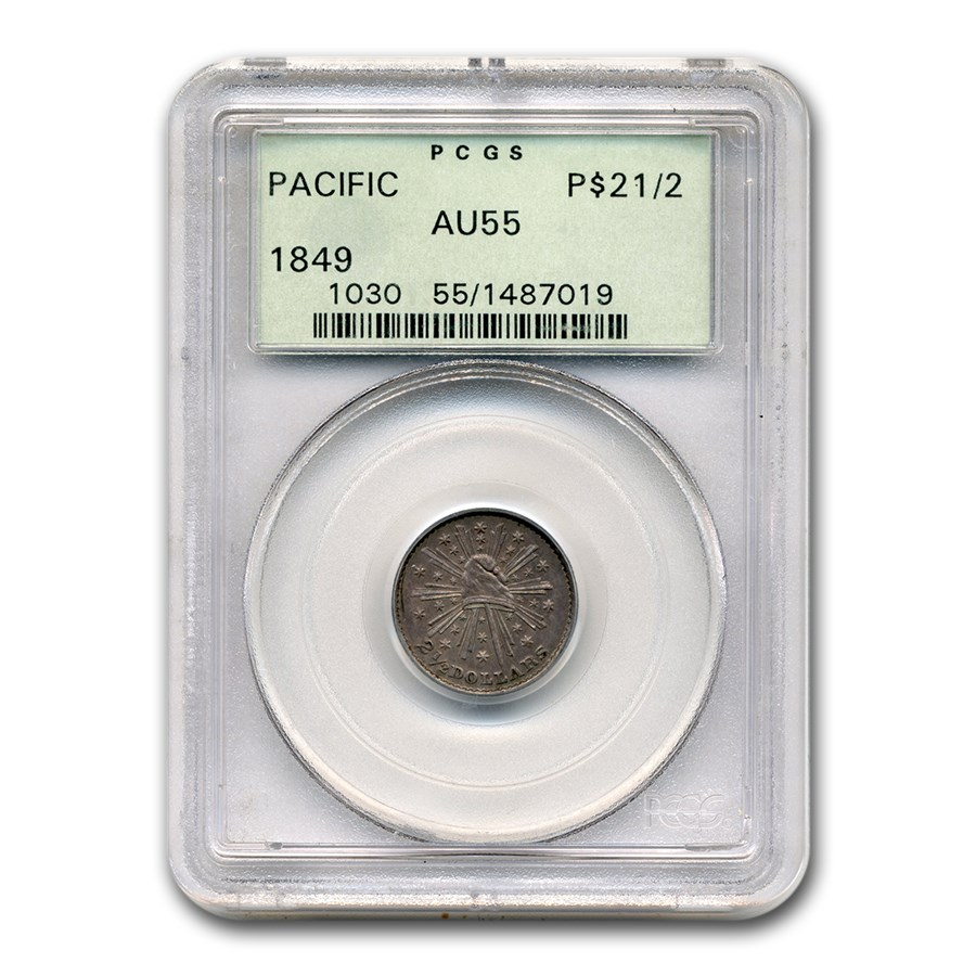 1849 $2.50 Pacific Company Quarter Eagle AU-55 PCGS (California)