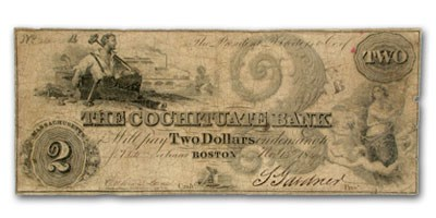 1849 $2 The Cochituate Bank of Boston, MA MA-130 VF