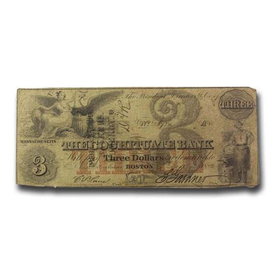 1849 $3 The Cochituate Bank of Boston, MA MA-130 VG