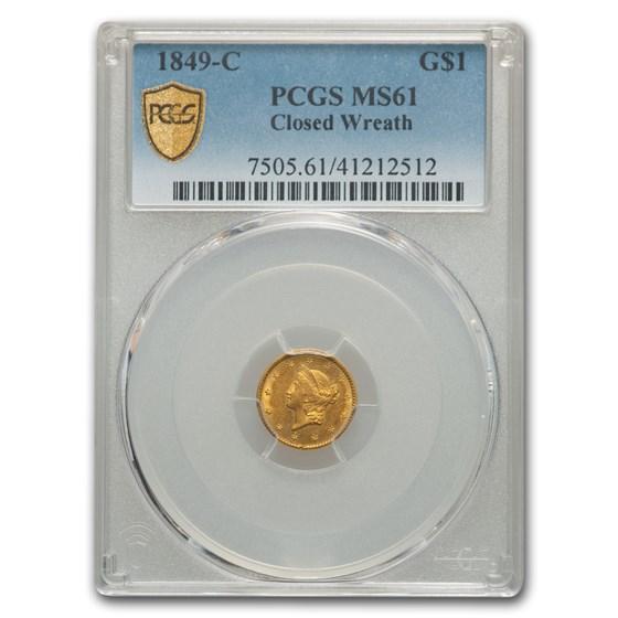 1849-C $1 Liberty Head Gold Closed Wreath MS-61 PCGS