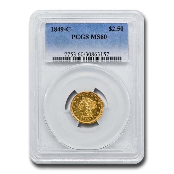 1849-C $2.50 Liberty Gold Quarter Eagle MS-60 PCGS