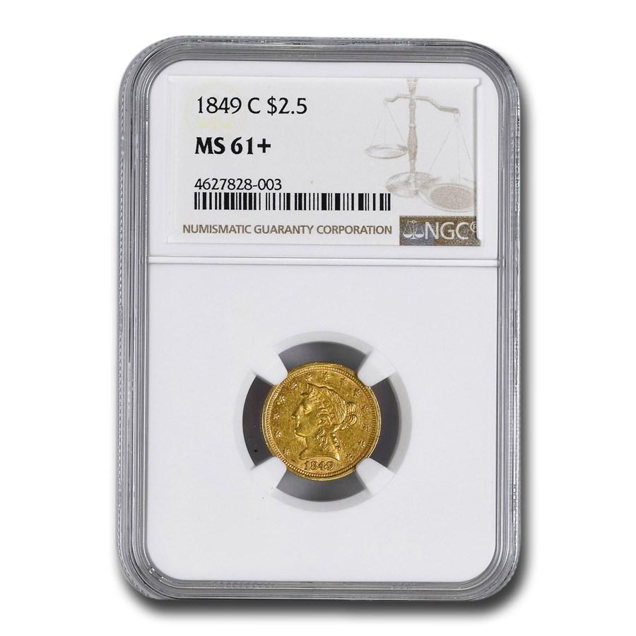 1849-C $2.50 Liberty Gold Quarter Eagle MS-61+ NGC