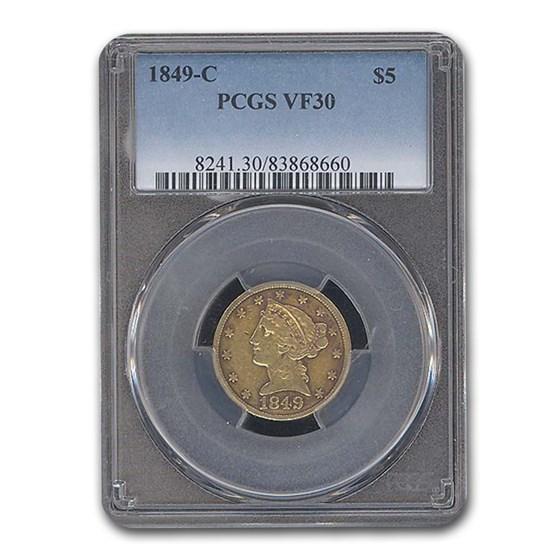 1849-C $5 Liberty Gold Half Eagle VF-30 PCGS