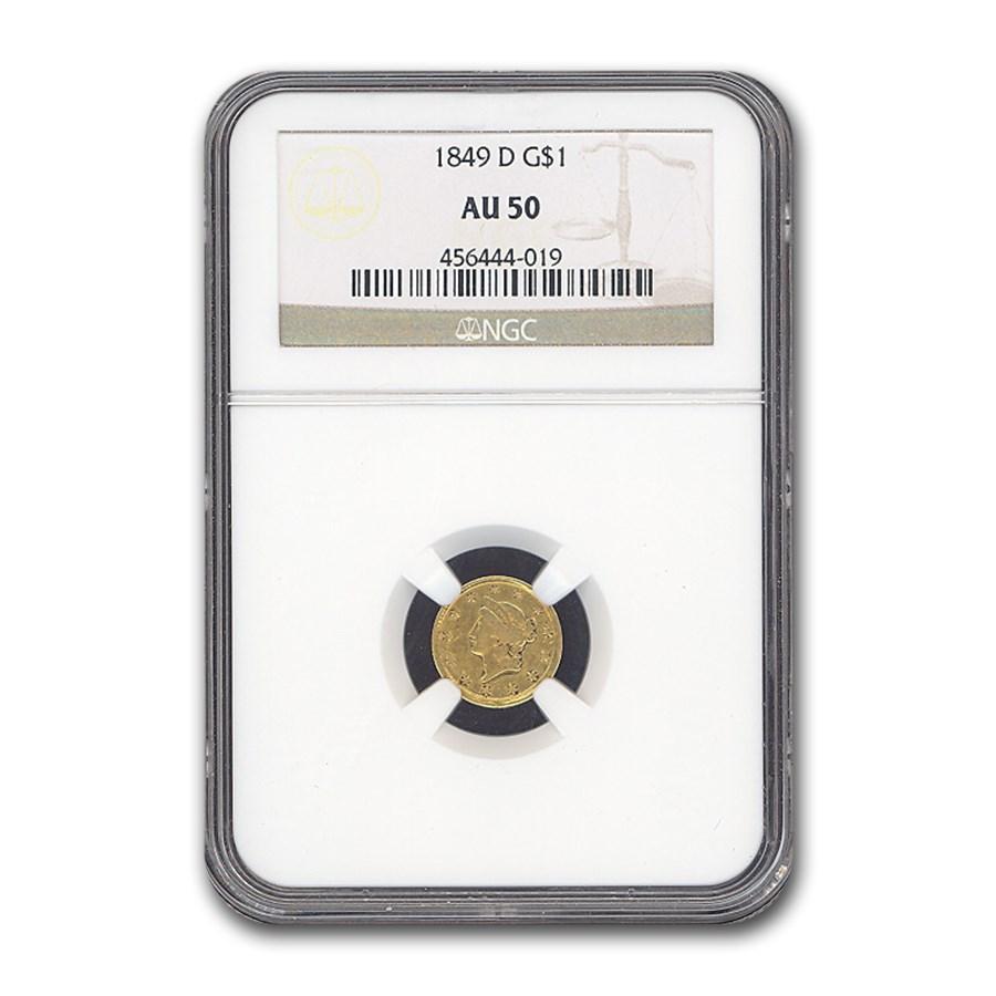 1849-D $1 Liberty Head Gold Dollar AU-50 NGC