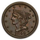 1849 Half Cent Large Date AU