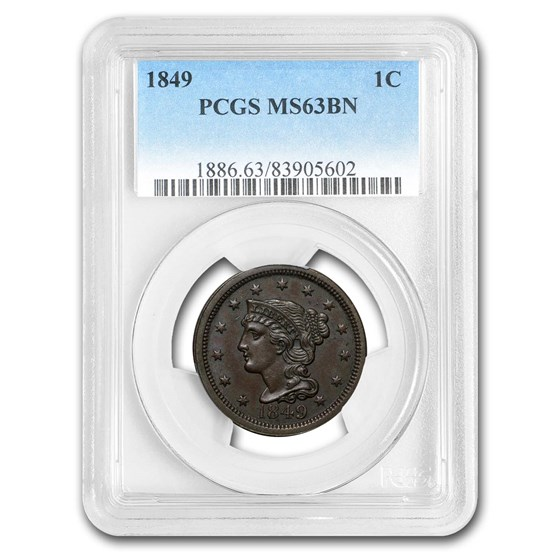 1849 Large Cent MS-63 PCGS (Brown)
