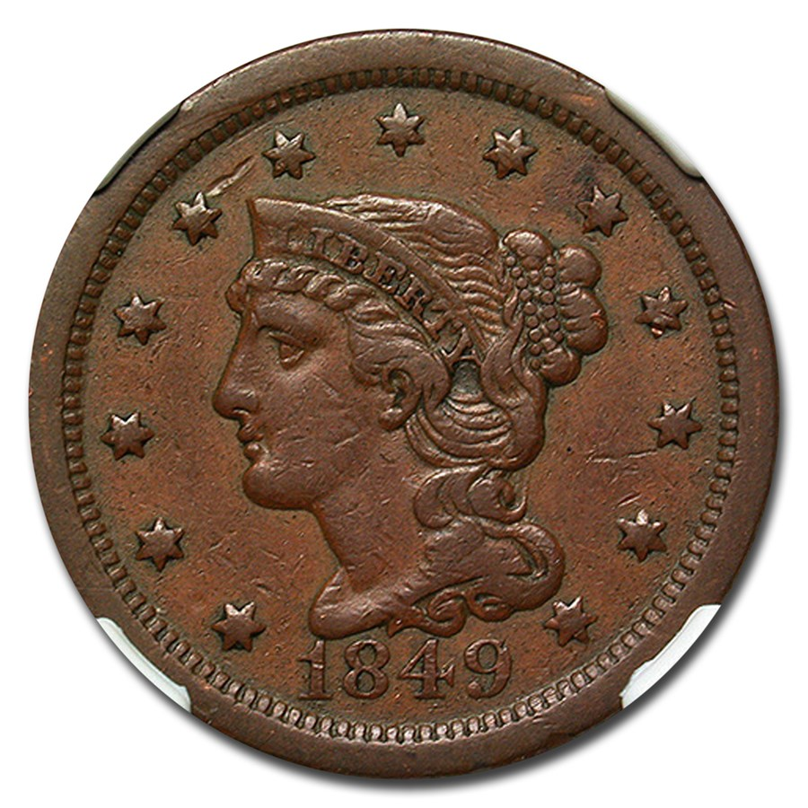 1849 Large Cent XF-40 NGC (Brown)
