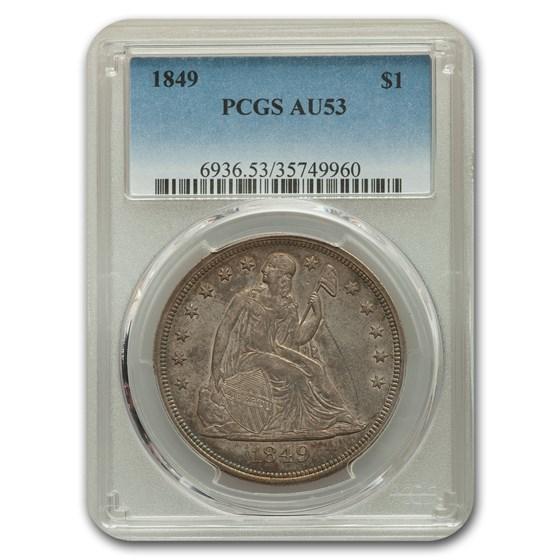 1849 Liberty Seated Dollar AU-53 PCGS