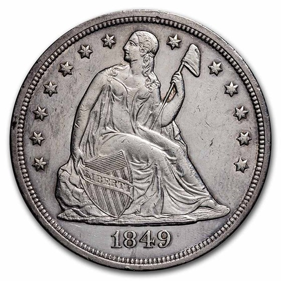 1849 Liberty Seated Dollar AU-55 Details (Cleaned)