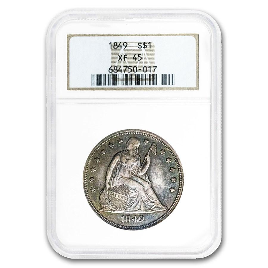 1849 Liberty Seated Dollar XF-45 NGC