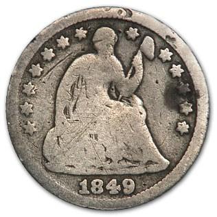 1849 Liberty Seated Half Dime Good