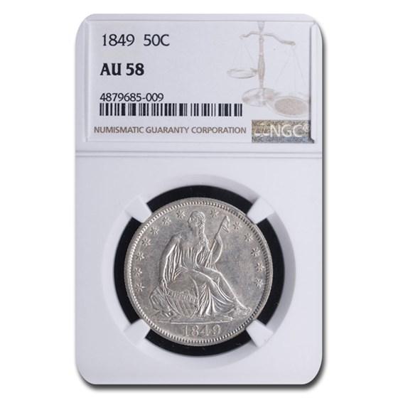 1849 Liberty Seated Half Dollar AU-58 NGC